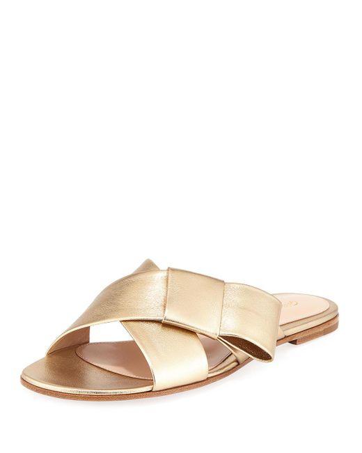 Gianvito Rossi - Flat Metallic Ribbon Slide Sandal - Lyst