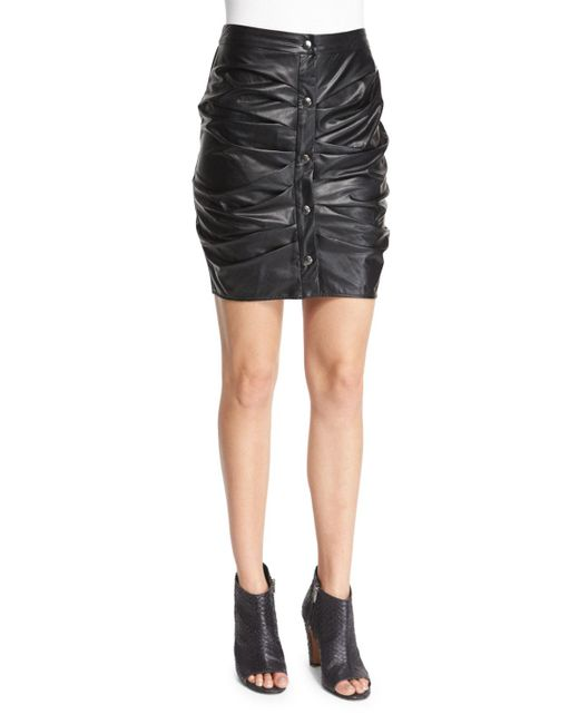 Étoile Isabel Marant | Black July Ruched Faux-leather Skirt | Lyst