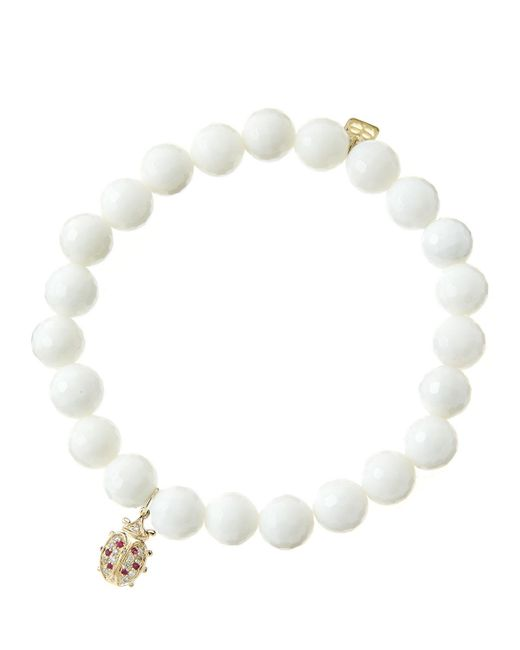 Sydney Evan - 8mm Faceted White Agate Beaded Bracelet With 14k Gold/diamond Medium Ladybug Charm (made To Order) - Lyst