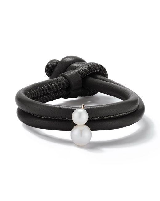 Mizuki - Sea Of Beauty Black Leather Wrap Bracelet With Pearls - Lyst