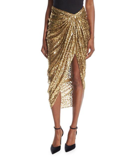 Michael Kors | Metallic Cheetah Fil Coupe Sarong Skirt | Lyst
