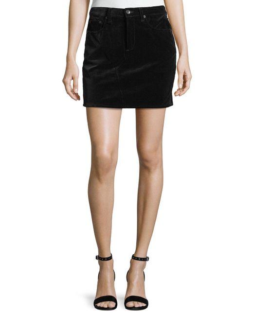 Rag & Bone   Black Dive Velvet Mini Skirt   Lyst