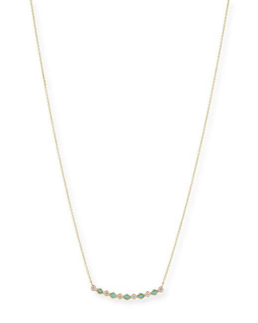 Sydney Evan - Metallic Turquoise & Diamond Bezel Bar Necklace - Lyst