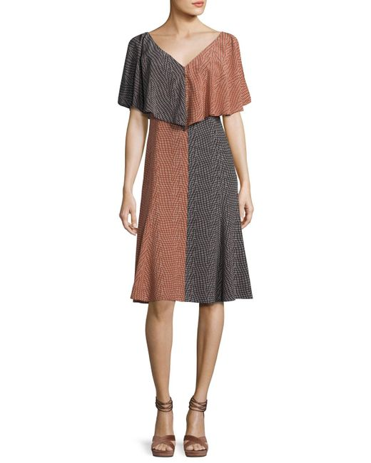 Derek Lam | Black Bicolor Handkerchief-top Silk Midi Dress | Lyst