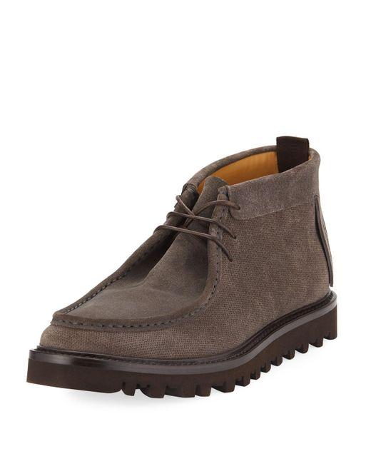 Giorgio Armani - Gray Wallaby Lug-sole Suede Boot for Men - Lyst