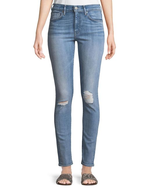 Levi's Blue 721 Distressed Skinny-leg Jeans