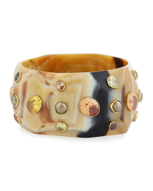 Ashley Pittman | Brown Lipua Faceted Light Horn Bangle | Lyst