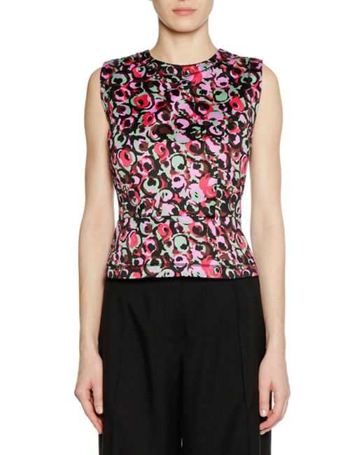 Marni - Sleeveless Crewneck Multicolor Cotton Woven Tank Top - Lyst