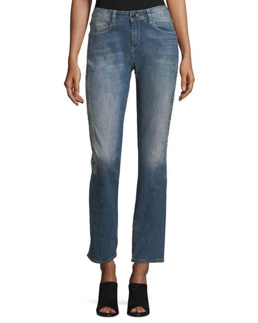 Brockenbow Blue Stardust Beaded Straight-leg Cropped Boyfriend Jeans