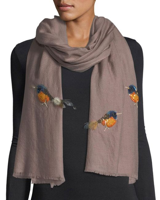 K. Janavi | Brown Embellished Birds Shawl | Lyst