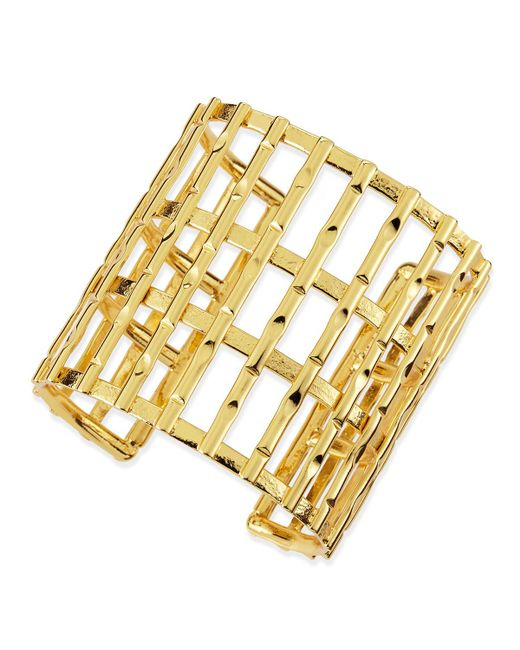 Nest - Metallic Gold Plated Bamboo Lattice Cuff - Lyst