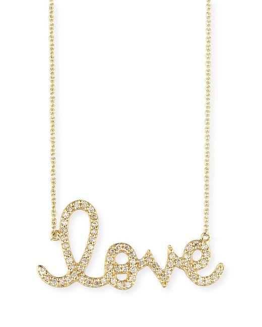 Sydney Evan - Metallic Large 14k Yellow Gold & Diamond Love Necklace - Lyst