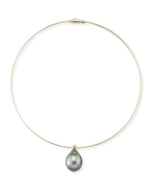 Mizuki | Metallic Tahitian Pearl & Diamond Collar Necklace | Lyst
