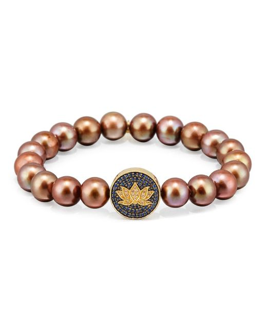 Sydney Evan - Brown Potato Pearl Bracelet With Sapphire & Diamond Lotus Station - Lyst