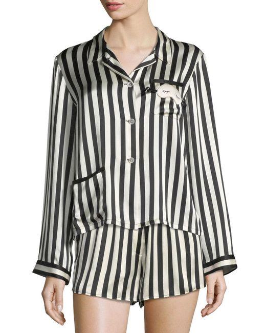Morgan Lane - Black Ruthie Long-sleeve Striped Silk Pajama Top - Lyst