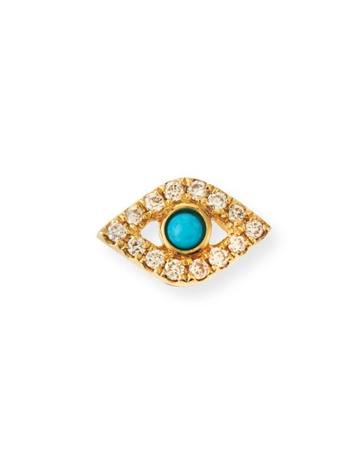 Sydney Evan | Metallic Small Turquoise Cabochon & Diamond Evil Eye Single Earring | Lyst