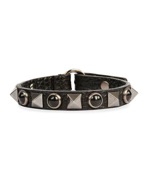 Valentino - Black Rockstud Rolling Noir Leather Bracelet - Lyst