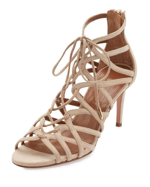 Aquazzura | Natural Ivy Lace-up Suede 75mm Sandal | Lyst