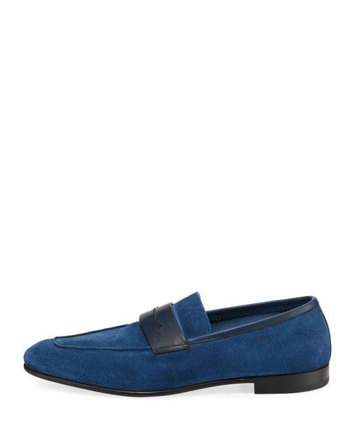 879653cc8f4 ... Ermenegildo Zegna - Blue La Sola Suede Penny Loafer for Men - Lyst