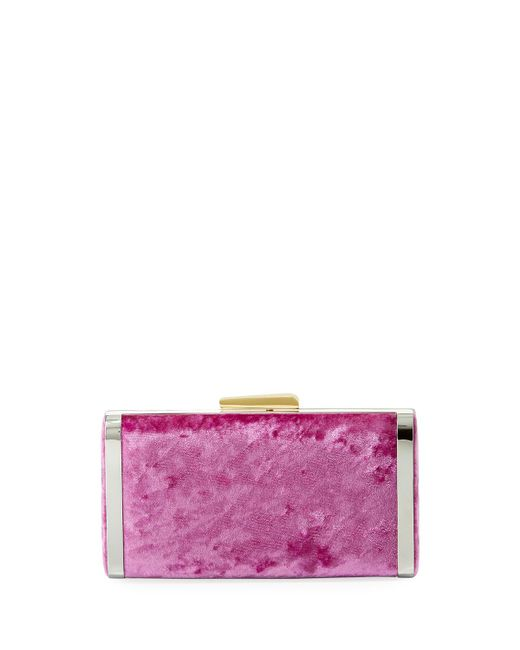 Hayward - Pink Long Box Crushed Velvet Clutch Bag - Lyst