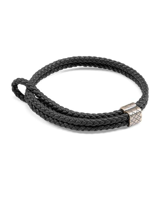 Bottega Veneta   Black Men's Woven Leather Bracelet for Men   Lyst