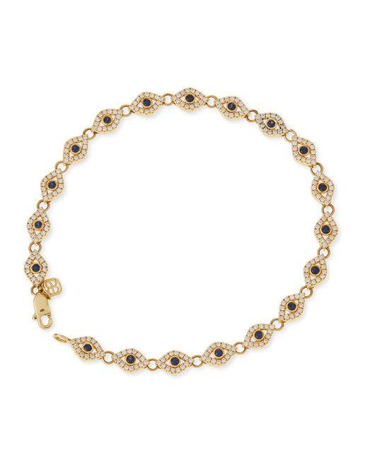 Sydney Evan - Metallic 14k Evil Eye Diamond & Sapphire Link Bracelet - Lyst