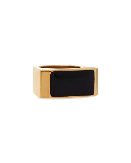 Saint Laurent - White Black/golden Colorblock Ring - Lyst