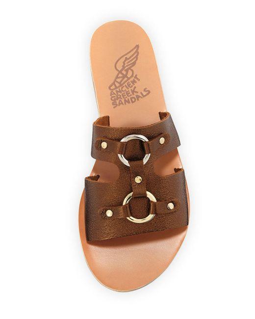 91759cc036412 ... Ancient Greek Sandals - Brown Attiki Flat Metallic Leather Slide Sandal  - Lyst