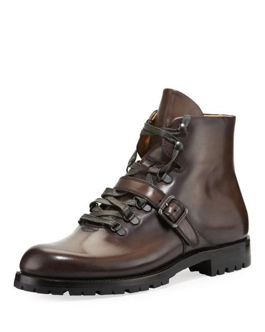 Berluti - Gray Brunico Venezia Leather Hiking Boot for Men - Lyst