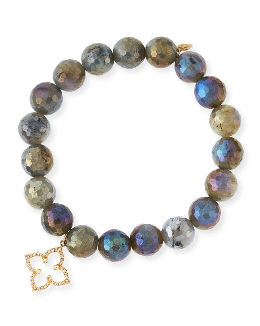 Sydney Evan | Multicolor Coated Labradorite Faceted Bead Bracelet With Diamond Moroccan Flower Charm | Lyst