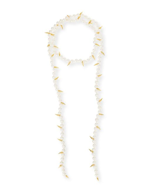 Fallon - Metallic Linda Pearly Spike Lariat Necklace - Lyst