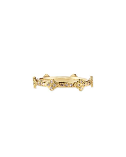 Armenta - Metallic 18k Yellow Gold Stackable Ring With Diamond Crivelli Crosses - Lyst
