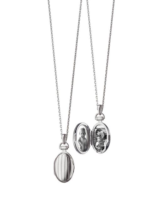 "Monica Rich Kosann - Metallic 3/4"" Pinstriped Silver Oval Locket Necklace - Lyst"