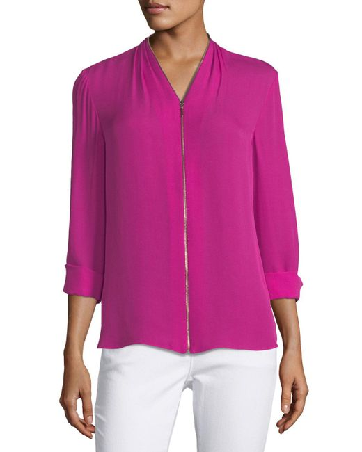 Elie Tahari | Pink Kailani Zip-front Silk Blouse | Lyst