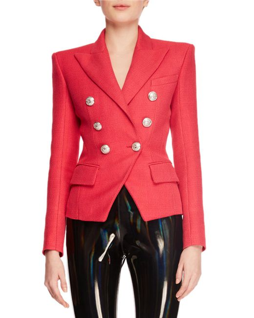 Balmain - Red Double-breasted Six-button Grain De Poudre Classic Blazer - Lyst