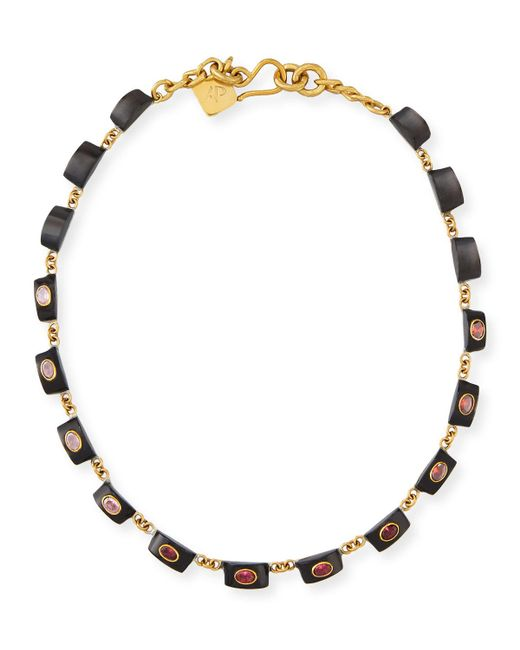 Ashley Pittman - Brown Zambarau Dark Horn Station Necklace - Lyst