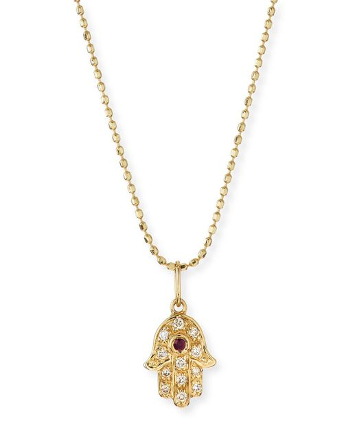 Sydney Evan - Metallic 14k Gold Diamond Hamsa Pendant Necklace - Lyst