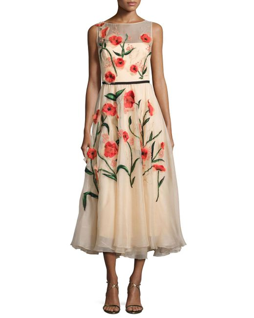 Lela Rose | Multicolor Floral-appliqué Sleeveless Midi Dress | Lyst