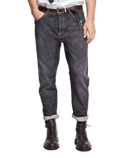 Brunello Cucinelli | Gray Selvedge Denim Leisure-fit Jeans for Men | Lyst