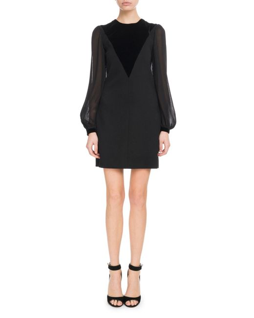 Givenchy - Black Velvet V-front Sheer Long-sleeve Wool Cocktail Dress - Lyst