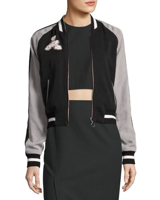 Elizabeth and James | Black Willa Embroidered Colorblock Bomber Jacket | Lyst