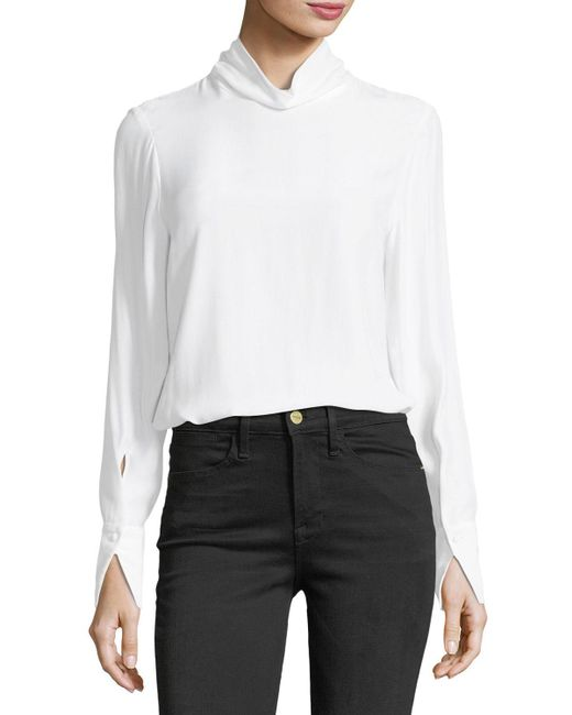 FRAME | White Turtleneck Long-sleeve Silk Blouse | Lyst