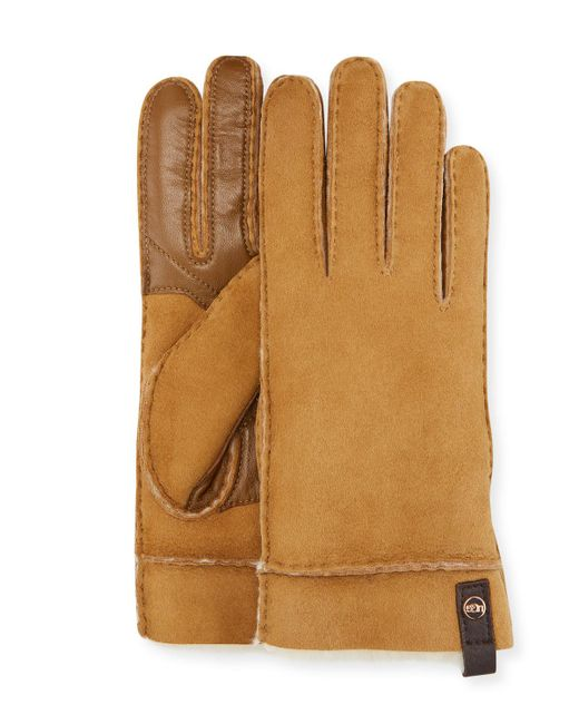 1d8f1e284 UGG Tenney Suede & Leather Gloves W/ Shearling Lining in Brown - Lyst