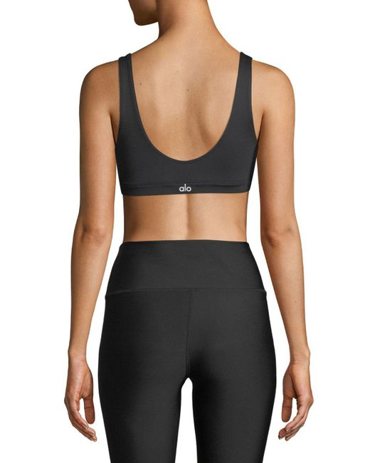 df1ac7a07a ... Alo Yoga - Black Ambient Low-impact Scoop-neck Sports Bra - Lyst