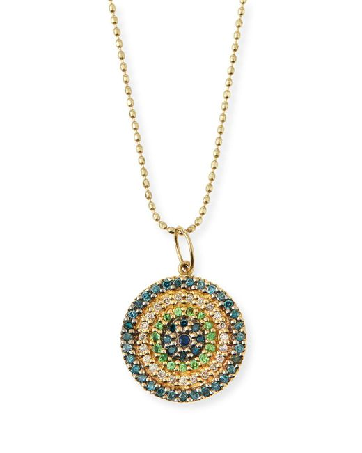 Sydney Evan | Multicolor Concentric Eye Diamond & Sapphire Necklace | Lyst