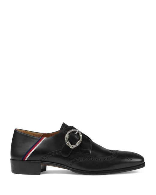 8186682df79 ... Gucci - Black Leather Brogue Shoe With Sylvie Web for Men - Lyst ...