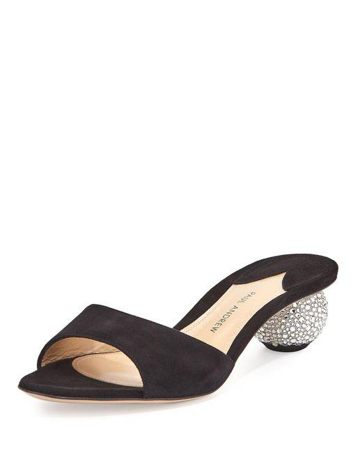 Paul Andrew | Black Arco Suede Crystal-heel Slide Sandal | Lyst