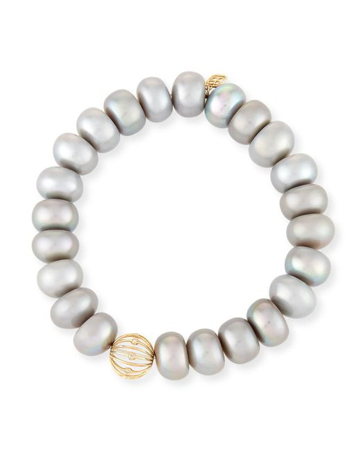 Sydney Evan - 10mm Gray Pearl Button Bracelet With Diamond Bezel Ball Station - Lyst