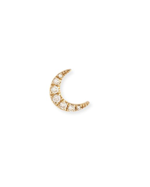 EF Collection - Metallic Diamond Mini Moon Single Stud Earring - Lyst