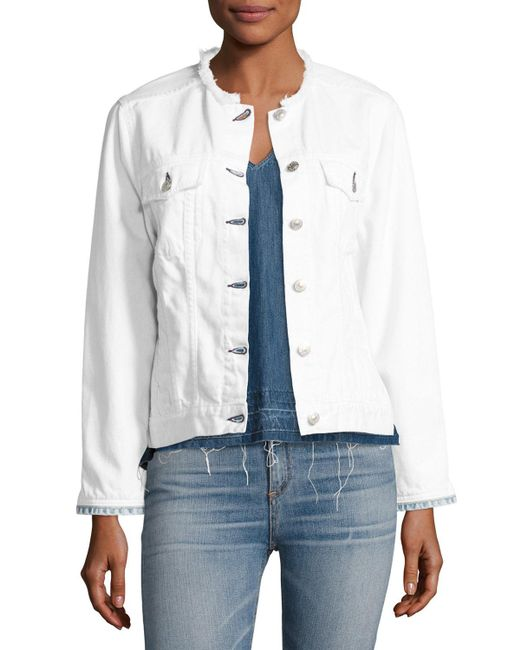 Rag & Bone | White Collarless Jean Jacket | Lyst